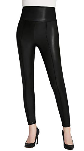 le Kunstleder Leggings für Damen Sexy Leather Pants Schwarz X-Large ()