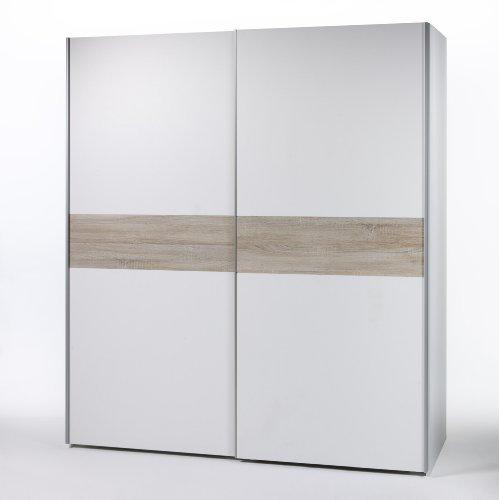 BEGA 58-301-87 Victor 2 Schwebetürenschrank Bauchbinde Eiche Sonoma Dekor, circa 170 x 195 x 63 cm, weiß