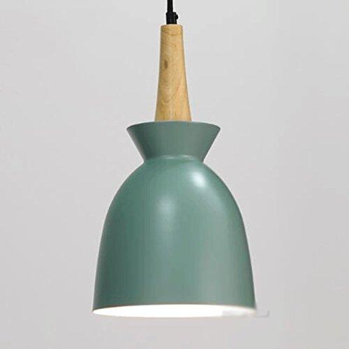 GAOLILI Simple Restaurant Chandelier Combinación de tres lámparas danesas Creative Lámparas de madera personalizadas Única lámpara de techo de aluminio Simple y elegante E27 ( Color : Verde )