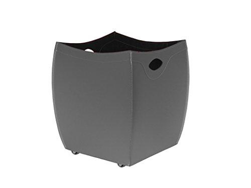 9e5fb399332 BOTTE  Porte bûches en cuir deux tons couleur Noir et Tourterelle