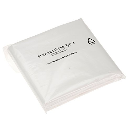 BB-Verpackungen Matratzenhülle, Typ 3 Maße: 230 x 235 cm für bis 200 cm breite Matratzen, Farbe: weiß, Stärke: 45 my, Matratzenschoner für Umzug