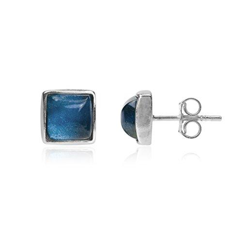 Blauer Bernstein Sterling Silber Quadratische Ohrstecker