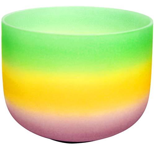 Klangschale aus gefrostetem Kristall in Regenbogen-Optik, Herz-Chara, 33 cm (O-Ring und Schlägel im Lieferumfang enthalten)