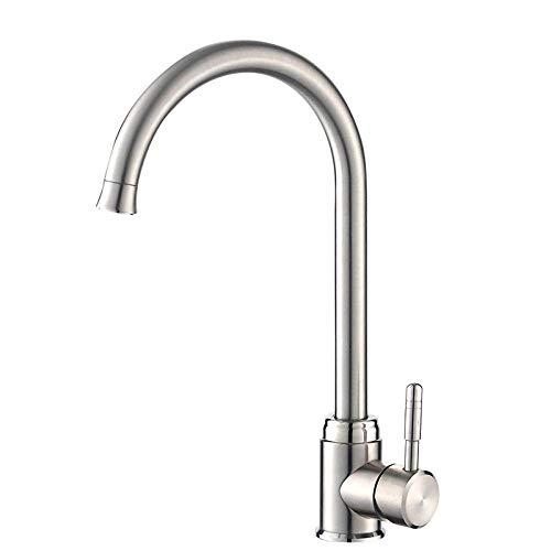 Waschtischarmaturen Küchenarmaturen Waschraumarmaturen Edelstahl Waschbecken Wasserhahn_304 Heißen Und Kalten Waschbecken Wasserhahn Gebürstet Hubspüle Spüle Kann Gedreht Werden