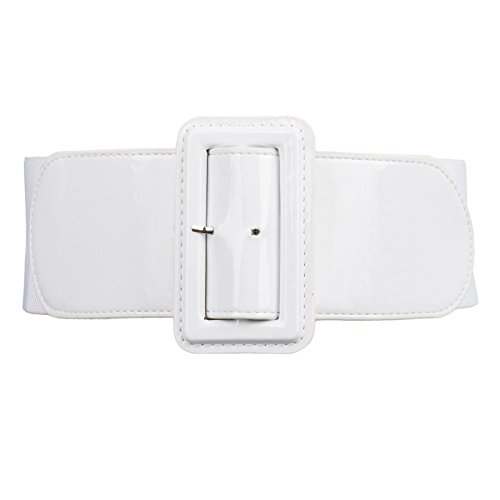 Cintura Ancho Elegante con Hebilla de Cuero de la PU Blanco M