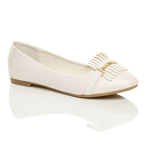 Donna tacco basso piano fiocco frangia ballerina lavoro scarpe classico taglia Vernice bianca