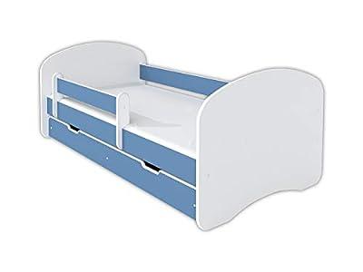 Cama infantil de 140 x 70 cm con colchón y cajón, color azul