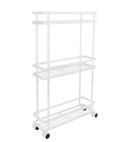 Shelf Home Küche Gesteppte Lagerregal, Lücke Lagerregal, bewegliche Metall Geschichteten Rollwagen, für Küche, Bad, Wohnzimmer-Universal-Rad mit Bremse. -