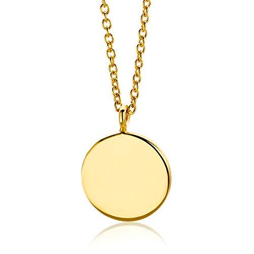 lbgold, Halskette mit Kreisanhänger 14 Karat (585) Gold 45 cm lang Halskette in Italien hergestellt ()