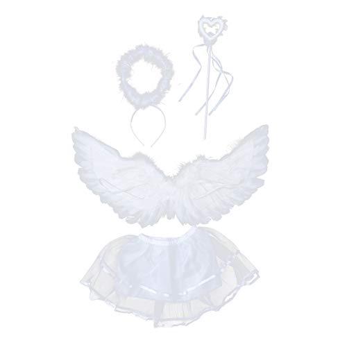 Amosfun 4 Stück Weiße Feder Engel Flügel Kostüm Engelsflügel mit Halo Stirnband Tüll Tutu Rock und Zauberstab Set Halloween Fotografie Requisiten für Kinder Mädchen - Weiße Feder Rock Kostüm