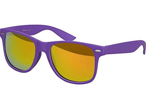 Balinco Hochwertige Nerd Sonnenbrille Rubber im Wayfarer Stil Retro Vintage Unisex Brille mit Federscharnier - 96 verschiedene Farben/Modelle wählbar (Lila - Rot/Orange verspiegelt)