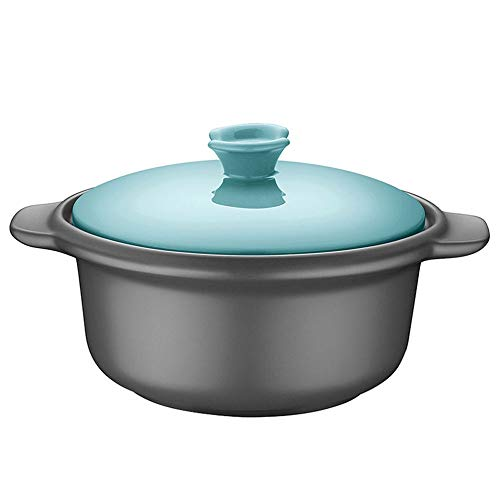WJMLS Ceramic Round Black Dish Casserole/Tontopf/Tontopf/Keramik-Kochgeschirr mit blauem Deckel Hitzebeständige (Color : Blue)