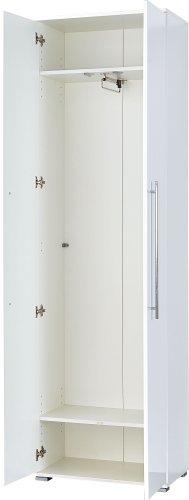Germania 3186-84 Garderobenschrank mit ausziehbarer Kleiderstange GW-Inside in Weiß, 59 x 198 x 34