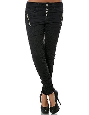 Damen Boyfriend Jeans Hose Reißverschluss Knopfleiste (weitere Farben) No 15479, Farbe:Schwarz;Größe:40 / L
