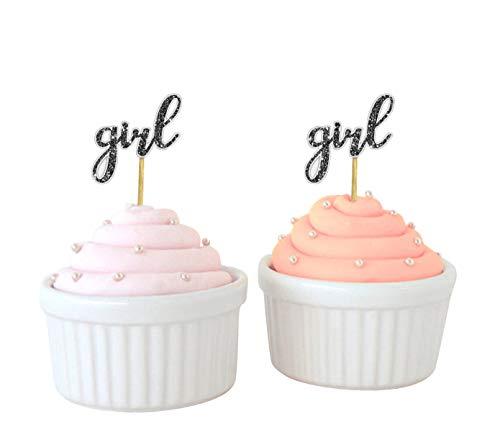 Darling Souvenir, Baby-Dusche Mädchen Cupcake Toppers, Gender Reveal Party Dessert Dekorationen - Packung von 20