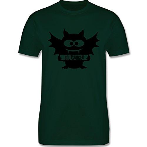 Halloween - Fledermaus - Herren Premium T-Shirt Dunkelgrün