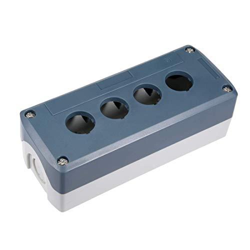 ZCHXD Push Button Switch Control Station Box 22mm 4 Button Hole Waterproof Gray and White Push-button Switch-box