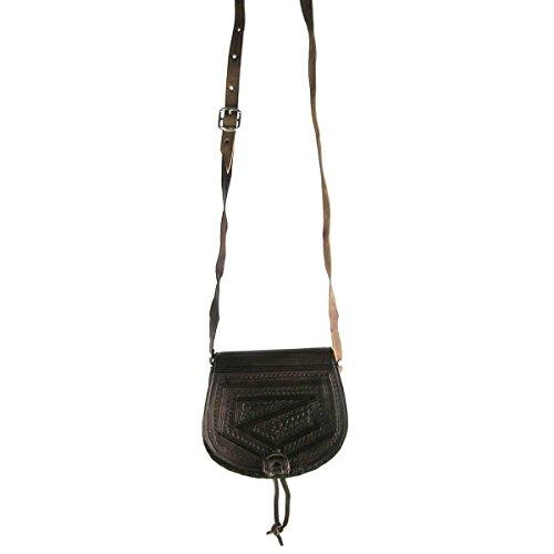 Ledertasche Handtasche Umhängetasche Schultertasche Aktentasche Tragetasche Leder Tasche Mittelalter Oval (dunkelbraun) - 2