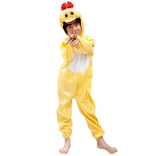 LSERVER Jungen und Mädchen Tier Performance Kostüme Kinder Festival Bühne Kostüme Tierpyjamas, Ente, 116(Fabrikgröße:120)