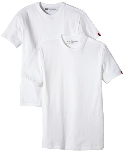 Levi's Herren T-Shirt Slim 2 Pack Crew, Medium, Weiß (White) (Crew T-shirt Weiß)