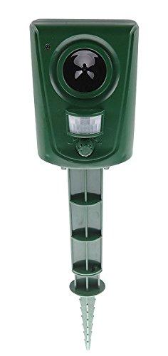ISOTRONIC Tierabwehrgerät Ultraschall Tiervertreiber - 1er - Batteriebetrieb - Akustische Tierabwehr inkl. Erdspieß - Effektiv Wildtiere, Kleintiere, Vögel, Hunde, Katzen, Marder vertreiben