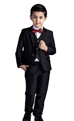 Icegrey Jungen 5 Stück Anzug Hochzeit Party Jacke Hose Hemd Weste Krawatte Schwarz 10-11 Jahre (Husky Jungen Anzug)
