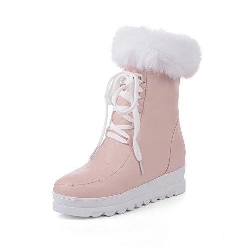 AllhqFashion Damen Mittler Absatz Rein Rund Zehe Reißverschluss Stiefel, Pink, 34