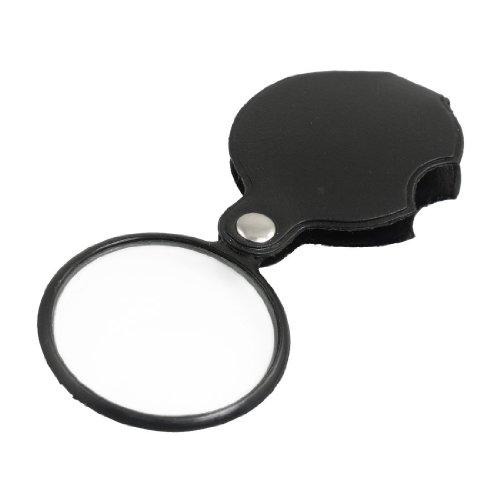 SODIAL(R) Tragbar 50mm Durchmesser 5X runde Vergroesserungsglas mit schwarze Abdeckung