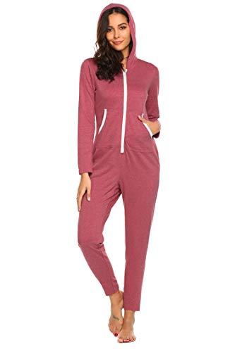 Damen Jumpsuits Pyjama Schlafanzug Hausanzug Overall Nachtwäsche Sleepwear Mit Kapuze Halloween