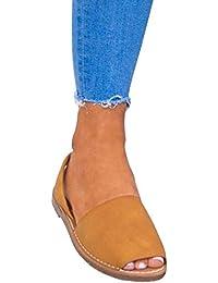 3f7754414e82 Minetom Femme Poissons Bouche Sandales Plate Chaussures de Plage Été Mode  Élégant Romaines Daim Flip Flops