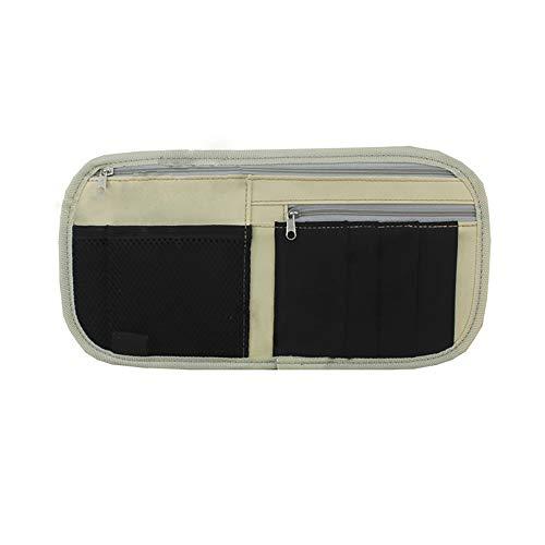 KDSANSO Auto Sonnenblende Organizer multifunktionale Aufbewahrung Tasche aus Oxford-Tuch für Brillenfassungen, Ticketspeicher,Stift,Hellweiß,15 * 30cm