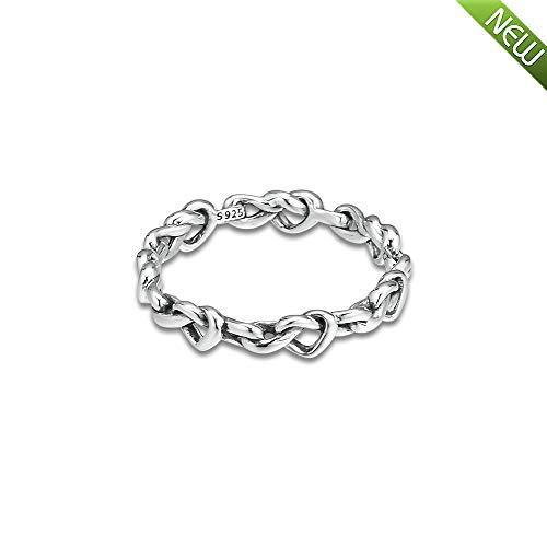 PANDOCCI 2019 Muttertagsgeschenk Geknotete Herzen Band Ringe für Frauen 925 Silber DIY Passt für Ursprüngliche Pandora Armbänder Charme Modeschmuck (58#) -