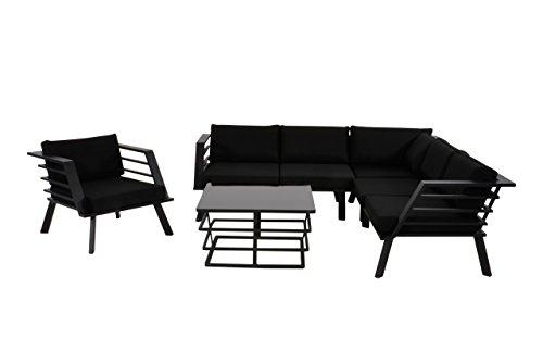 Lounge Gartenmöbel Set Aus Aluminium In Schwarz. Gartenstuhl Und Bank Und  Tisch Inkl. Sitzauflagen, Wetterfest. Ideal Für Garten Und Terrasse.