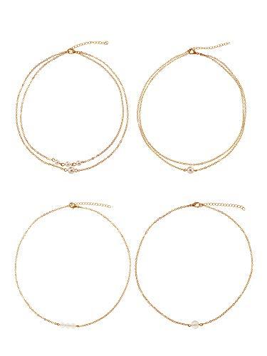 Tatuo 4 Stück Mini Faux Perle Choker Doppelt Überlagert Anhänger Halskette Bead Choker für Damen Mädchen Gefälligkeiten, 4 Stile
