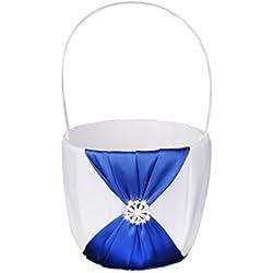 Cesta para Boda decorada de satén azul y blanco