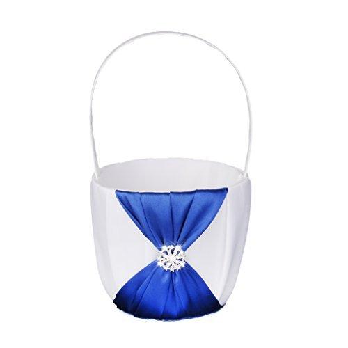 Hochzeit Blumen Mädchen Korb blau Satin verziert weiß (Körbe Mädchen Für)