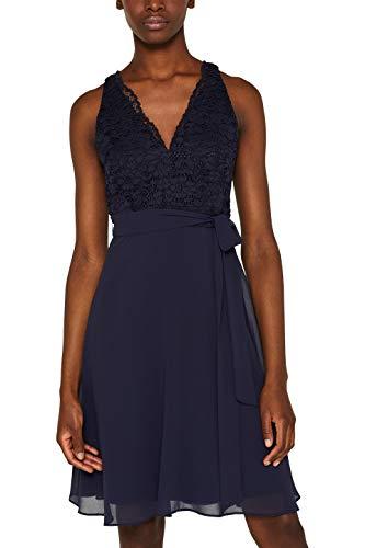 ESPRIT Collection Damen 059Eo1E046 Kleid, Blau (Navy 400), Large (Herstellergröße: L) -