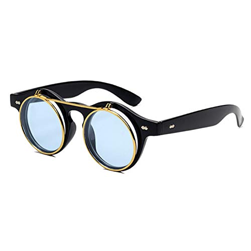 Gafas,Gafas de sol,Fashion Round Steampunk Flip Up Sunglasses Men Women Vintage Double Layer Lens Design Classic Sun Glasses Oculos De Sol UV400 Black Blue