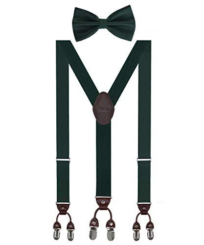 Herren Hosenträger Breit 6 Clips mit Leder in Y-Form/Extra Starken 35mm Elastisch und Längenverstellbar in Verschiedenen Farben Designs für Männer und Damen Hose Grün Fliege -