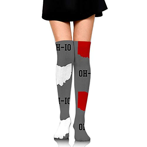 uyruyeue Oh-Io State Gray Upgraded Knee High Graduated Compression Socks for Women and Men - Best Medical,Nursing,Travel & Flight Socks - Running & Fitness -