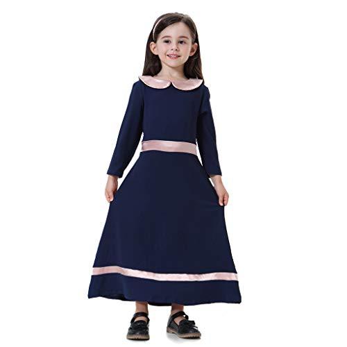UFODB Muslim Kleidung Mädchen, Kinder Baby Islamic Langarm Middle East Kaftan Maxi Abendkleid Robe Prinzessin Kleider Osten Traditionelle Gebet Lange Abayas Kleid -