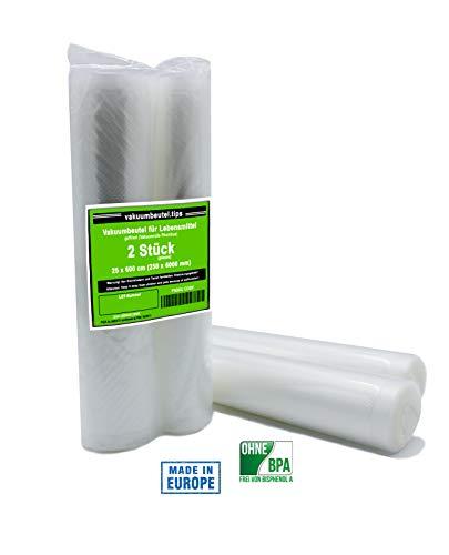 Vakuumier-Rolle 2 Rollen 30x600 cm geprägt goffriert die alternative zum Folienbeutel,Vakuumbeutel geeignet für Caso, Lava, Allpax, Valko, Gastroback