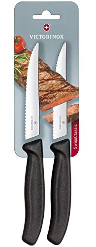Victorinox Swiss Classic 2er Set Steakmesser Gourmet mit Wellenschliff, 12 cm, Klingenschutz, Spülmaschinengeeignet, schwarz Steak-messer