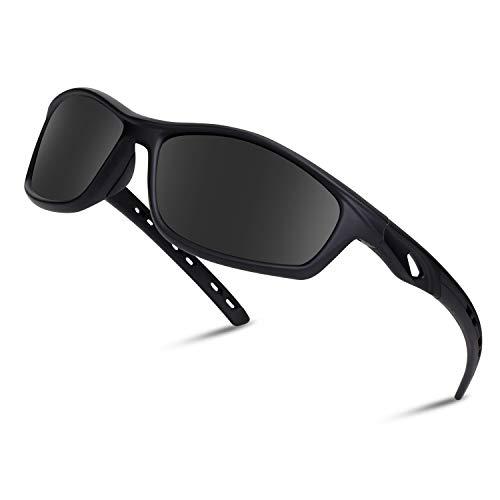 Occffy Polarisierte Sportbrille Sonnenbrille Fahrradbrille mit UV400 Schutz für Herren Autofahren Laufen Radfahren Angeln Golf OC001 (Schwarze Matte Rahmen mit Schwarze Linse)