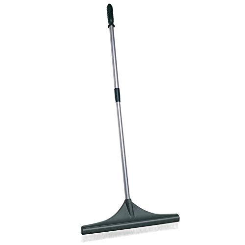 ORIENTOOLS Rasenbesen, ergonomisch verstellbar, leicht, Stahlgriff, Kunststoffkopf mit PA-Bürste, 81,3 bis 132,2 cm, Teppichbesen -
