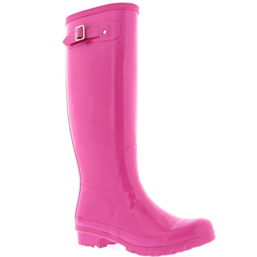 Polar Damen Original Tall Gloss Winter Wasserdicht Regen Gummistiefel Stiefel - Rosa - 38 (Rosa Hunter Stiefel Frauen)