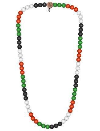 Wood Fellas Unisex Deluxe Holz-Perlenkette Black/White/red/Green 9mm (Kind Holz-rosenkranz)