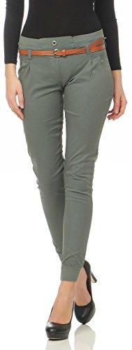Malito Damen Chino Hose inkl. Gürtel | Stoffhose mit Stretch | lässige Freizeithose | Skinny - elegant 5396 (Oliv, S)