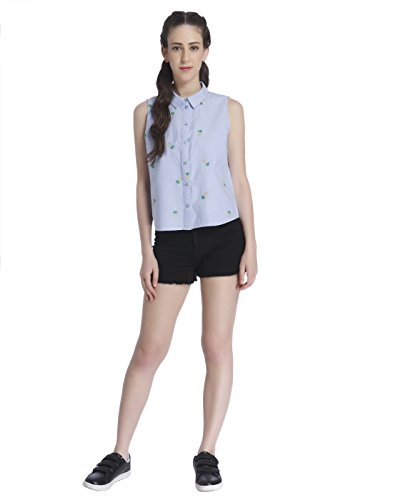 Only Onlally S/L Shirt Wvn, Camicia Donna Blu (Cashmere Blue Detail:pineapple Embroidery)