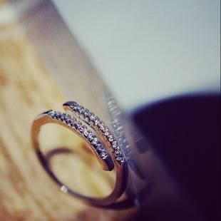 Hypoallergen Modeschmuck Schwestern Freundinnen Mikro-Diamant-Ring Live-Mund Joint Ring Schauspielerin Kette Schmuck , Platin (Diamant-schwester-ring)